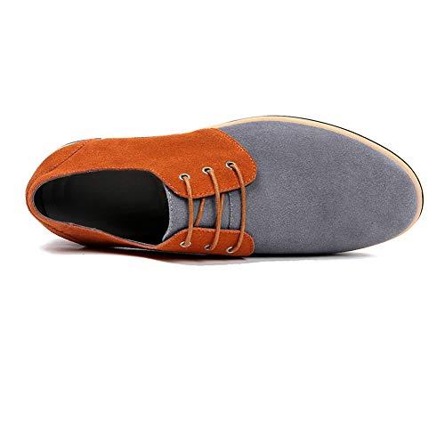NXY Hombres Zapatos de de Brogues Zapatos de Planos Cordones Negocios Oxford Cuero Ocasionales los Gris Zapatos de de 16qrXB1