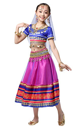 Girls Belly Dance Outfit Shiny Crop Top with Skirts School Dancing Uniforms Halloween Party Dress Costume Purple (Best School Uniform In India)