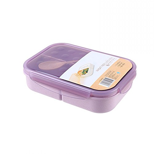 Natural Lunch Box - Linlyca Natural Wheat Fiber Lunch Box Fork Spoon Included Microwave/Freezer Safe Multi-function Food Storage Container Boxes for Adults, Kids (Lilac Purple)