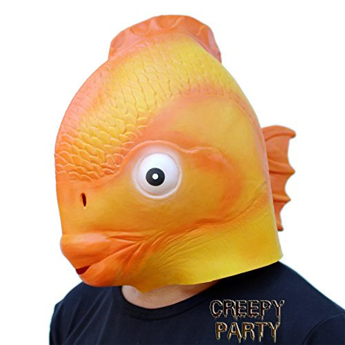 CreepyParty Deluxe Novelty Halloween Costume Party Latex Head Goldfish -