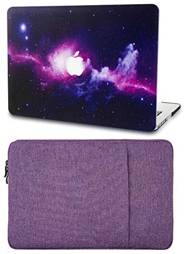 """KECC Laptop Case for MacBook Air 13"""" with Sleeve Plastic Hard Shell Case A1466/A1369 2 in 1 Bundle (Purple)"""