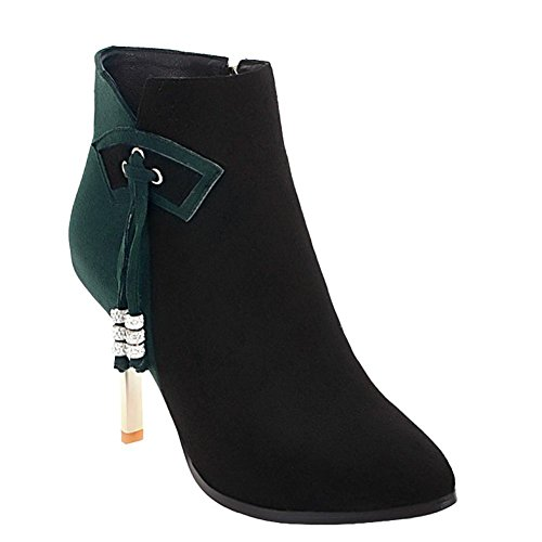 Rhinestones Short Dark Women's Carolbar Green Dress Boots Assorted Heel High Color qtnSw