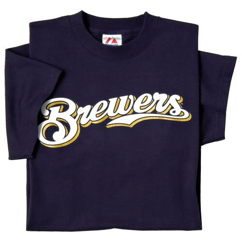 Milwaukee Brewers (ADULT LARGE) 100% Cotton Crewneck MLB Officially Licensed Majestic Major League Baseball Replica T-Shirt Jersey