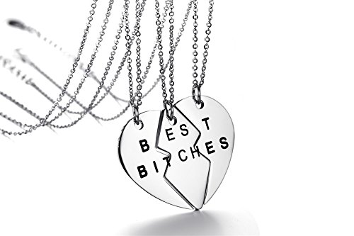 Mealguet Jewelry Stainless Steel Split Matching Heart Shape Best Bitches BFF Best Friend Necklaces for 3 Bestie, 3 Chains