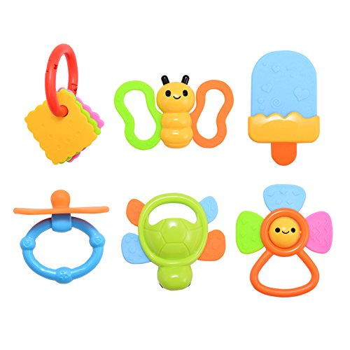 ThinkMax Happy Tooth Teether Baby Teething Toys Baby Teether with Handle (6-Piece) - Happy Tooth