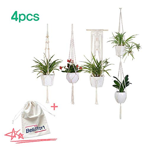 Macrame Plant Hangers -4Pack, Indoor Outdoor Hanging Planter Basket, Premium Handmade Cotton Rope, Made from India, Home Decor, Wall Hanging Planter Dust Bag for Gift (Best Home Plants In India)