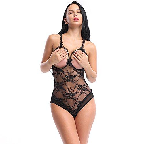 AN Lingerie trasparente S Tuta 4XL Tuta senza tulle in Esposta Abito schienale donna Sexy Babydoll Black da AI NA Pizzo dnfqTdA0