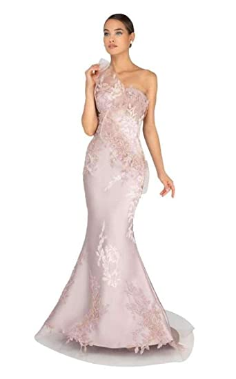 04ed78930c8a Terani Couture 1911E9095 Embroidered Asymmetric Neck Mermaid Gown in  Champagne at Amazon Women's Clothing store: