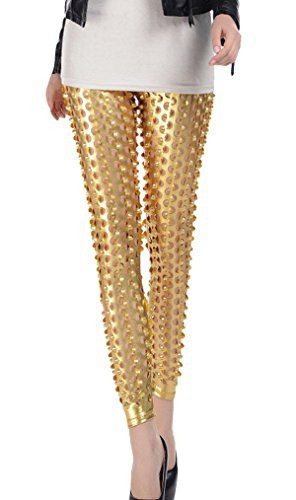 Women Punk Rock Leggings Hollow Out Sequined Full Length Fish Scale Pencil Pants Printed Stretch Leggings Pants Gold from Panegy