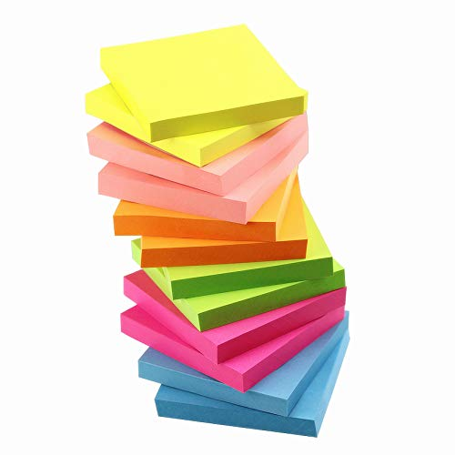 (Early Buy 6 Bright Color Self-Stick Notes Sticky Notes 12 Pads/Pack 100 Sheets/Pad Sticky Notes 3 X 3 Inches Box Packing - Quality)