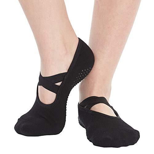 Yoga Socks for Women Non Skid Socks with Grips Barre Socks Pilates Socks for Women (black-1 pack) (Best Shoes For Barre Class)