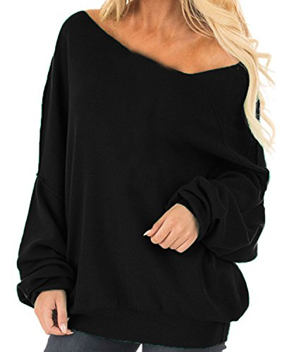 Auxo Womens Off The Shoulder Tops Baggy Shirt Long Sleeve Blouse Oversized Sweater Jumper Pullover Black US 16/Asian 2XL