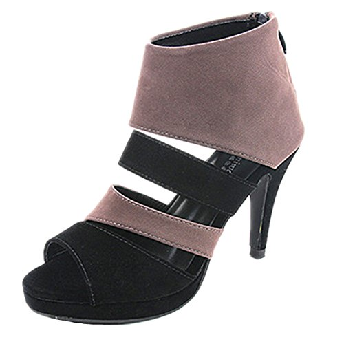 Anbover Womens Ademend Uitgeholde Romeinse Schoenen Fashion Peep Toed Pompen Grijs