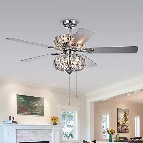 Kyana 6-light Crystal 5-blade 52-inch Chrome Ceiling Fan (Remote Optional) - Pull Chain ()