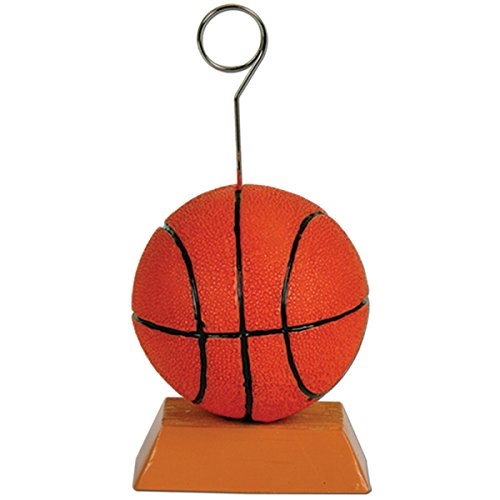 Pack of 6 Orange and Black Basketball Photo or Balloon Holder Party Decorations 6 oz.]()