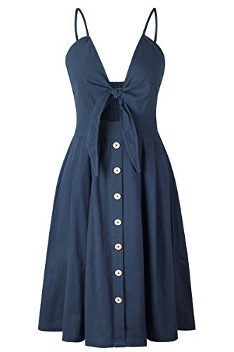 Haloon Solid Navy Self Tie Low Back Bandeau Dress Button Trim Midi Skirt (Tie Back Bandeau)