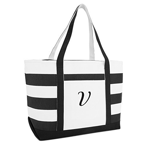 (DALIX Striped Beach Bag Tote Bags Satchel Personalized Black Ballent Letter V)