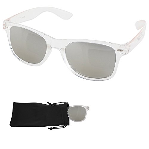 Transparent Frame Silver (Wayfarer Sunglasses - Silver Mirrored Lenses with Plastic Transparent Frames - UV Ray Protected Shades For Men & Women - By Optix 55)