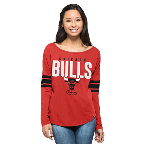 Courtside Cap - NBA Chicago Bulls Women's '47 Courtside Long Sleeve Tee, Rebound Red, Medium