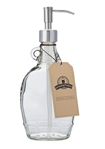 Jarmazing Products Vintage-Inspired Soap and Lotion Dispenser Bottle - Clear Glass with Stainless Steel Pump - 12 Ounces - One Pack by Jarmazing Products