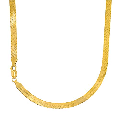 14k Solid Yellow Gold 5mm Super Flexible Silky Imperial Herringbone Necklace, Lobster Claw-16 Inches