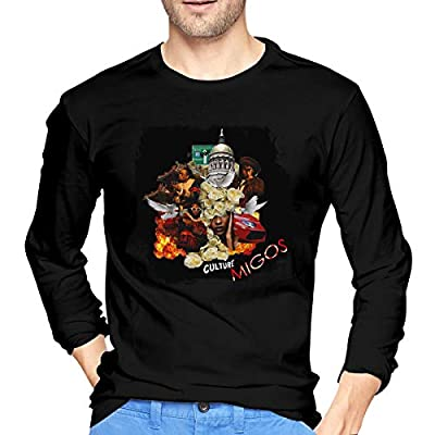 Cotton Migos Culture Mens T Shirts Long Sleeve Stylish Men Tees Black