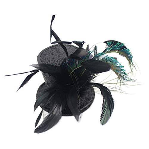 YSJOY Kentucky Derby Races Mini Top Hat Feather Fascinator Tea Party Cosplay Victorian Decorative Top Hat Hair Clip for Women Lady Costume Accessory -