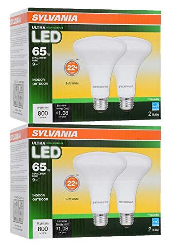 (Sylvania LED BR30 Reflector Lamp, 9W (65W Equivalent), Medium Base (E26/24), Soft White (2700 K), 800 Lumen, 4-Pack )