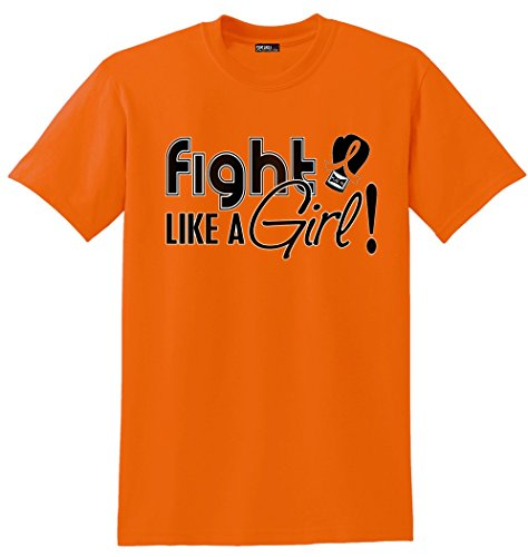 Fight Like a Girl Signature Kidney Cancer, Leukemia, Multiple Sclerosis Awareness Unisex T-Shirt - Orange [L]