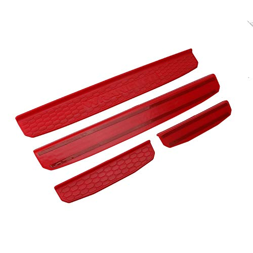Youmi Honeycomb Entry Guards Protector Trim Door Sill Protector Scuff Plate for 2018- Jeep Wrangler JL 4Door(Red)