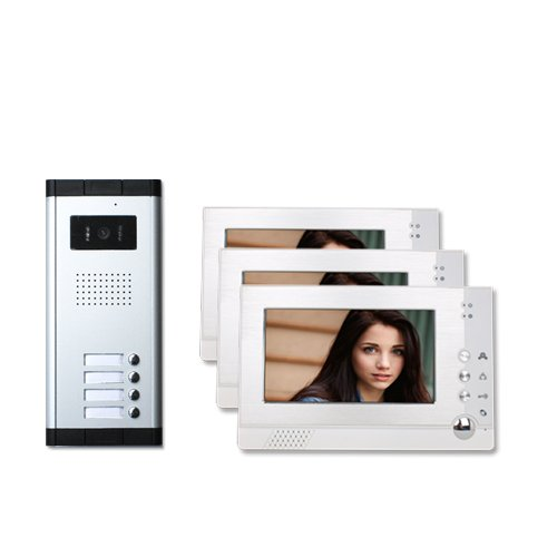Three Units Apartment Video Intercom with Auto Visitor Photo Memory Doorbell Security