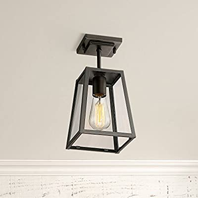 """Arrington Modern Outdoor Ceiling Light Fixture Mystic Black 6"""" Clear Glass Damp Rated for Exterior House Porch Patio Deck - John Timberland"""