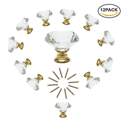 Glue Gold Glass (ANJUU 12 Pcs 30mm Diamond Shape Crystal Glass Cabinet Knobs with Gold Base with Screws Drawer Knob Pull Handle Used for Kitchen, Dresser, Door, Cupboard (Clear))