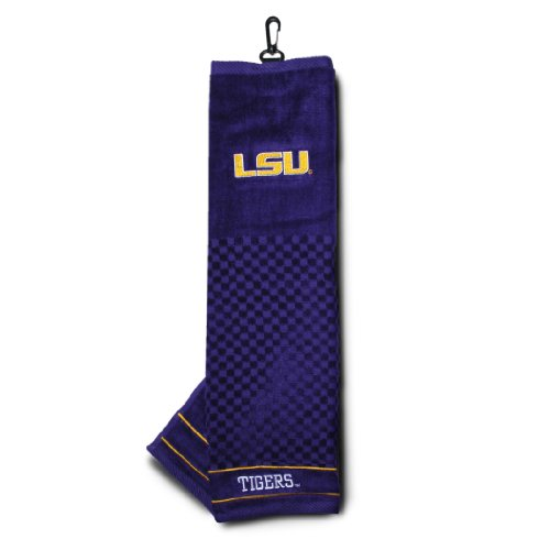 Team Golf NCAA LSU Tigers Embroidered Golf Towel, Checkered Scrubber Design, Embroidered Logo