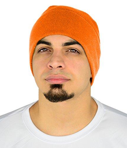 Mato & Hash Beanie Hats for Men & Women - Blaze Orange - Cold Weather Gear - Blaze Orange Polar Fleece