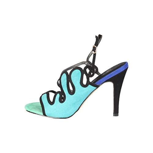 V 1969 - MARGOT_VERDE-BLU Donna Sandali Della Caviglia Cinghia Tacco 10 cm, Piattaforma 1 cm