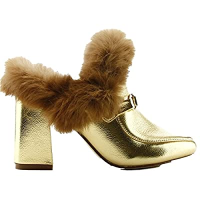 CAPE ROBBIN Bridgette-4 Closed Toe Fur Slip On Slide Mule Block Chunky Heel Shoe Gold