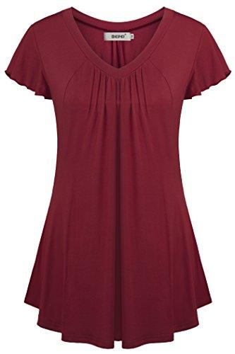 BEPEI Long Tunic Shirts for Leggings, V Neck Summer Pleated Flowy Flare Tops - Lightweight V-neck Tunic