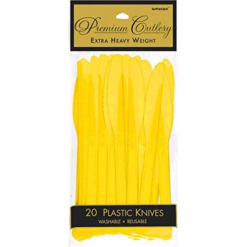 (Premium Heavy Weight Plastic Knives | Sunshine Yellow | Pack of 20 | Party Supply)