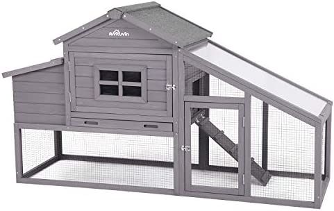 Aivituvin Rabbit Hutch Large Bunny Cage, Outdoor Bunny Hutch Wooden Chicken Coop, Rabbit House for Small Animals