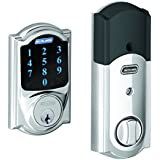 Schlage BE469NX CAM 625 Connect Camelot Touchscreen Deadbolt with Built-In Alarm, Works with Alexa via SmartThings, Wink or Iris, Bright Chrome, BE469 CAM 625