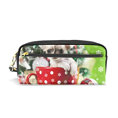 PU Leather Christmas Dog Cute Tiny Teacup Poodle Travel Cosmetic Bags Makeup Clutch Pouch Cosmetic and Toiletries Organizer Bag for Women