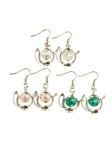 (PH PandaHall 20Pairs Tibetan Style Teapot Dangle Earrings Glass Beads Brass Hooks Earrings Jewelry)