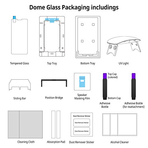 iPhone Xs MAX Screen Protector Tempered Glass, Full Cover Screen Shield [No UV Light Included] Backup Kit by Whitestone for Apple iPhone 10s MAX (2018) - Replacement Only by Dome Glass (Image #7)
