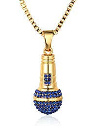 """Halukakah """"LITTLE SINGER"""" 18k Real Gold Plated Microphone Pendant Necklace with FREE Box Chain 30"""""""