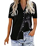 TnaIolral Ladies T-Shirt Loose Button Short Sleeve Shirt Cotton Summer Tops Blouse (2XL, Black)