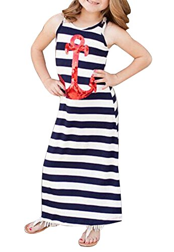 OMZIN Mother Daughter Sleeveless Stripe Stitching Dress Casual Long Maxi Beach Dress