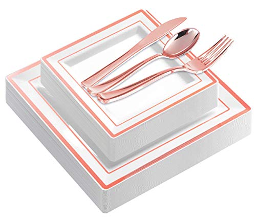 120 Pieces Rose Gold Plates with Disposable Silverware, Premium Heavyweight Plastic Square Plates Include: 24 Dinner Plates, 24 Dessert Plates, 24 Forks, 24 Knives, 24 Spoons