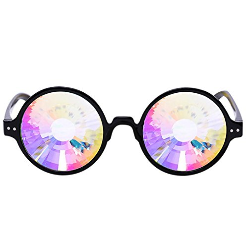 Chartsea Kaleidoscope Glasses Rave Festival Party EDM Sunglasses Diffracted Lens (Black)