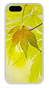 iPhone 5 5S Case Green Maple Leaf PC Custom iPhone 5 5S Case Cover White